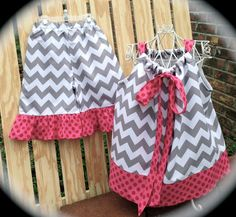 Girl's+Pillowcase+Top+in+Gray+Chevron+and+by+KinleasKloset+on+Etsy,+$36.50
