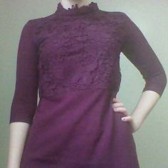 Primark Lace Sweater Dress Plum colored sweater dress with gorgeous lace detailing on front and high collar. New with tag manually attached. 3/4 sleeve. Color on hanger closers to true color. ♡ 10% off bundles♡ Primark Dresses Long Sleeve