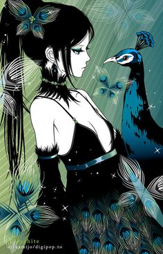 Anime - girl with peacock