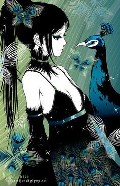 Anime - girl with peacock
