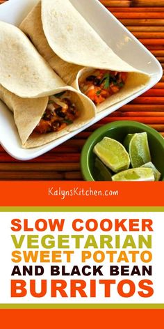 I use low-carb flour tortillas to make these delicious Slow Cooker Vegetarian Sweet Potato and Black Bean Burritos with Lime! Crock Pot Sweet Potatoes, Sweet Potato Recipes, Veggie Recipes, Meatless Recipes, Healthy Recipes, Veggie Food, Salad Recipes, Dinner Recipes, Slow Cooker Beans
