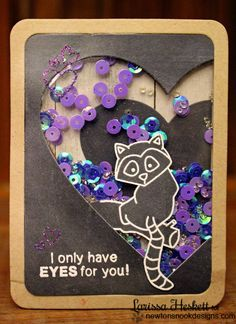 Chalkboard shaker card with lemur for valentines day by Larissa Heskett: Newton's Nook Designs Sweet Treats Blog Hop!! =)  Wild about zoo Stamp Set
