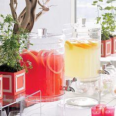 With stylish drink dispensers, guests can mix their own raspberry lemonade and pomegranate-grapefruit vodka cocktails; not having to pay for a bartender will save money (though you will need someone to straighten up periodically). To add thrill to the chill, we froze kumquats, orchids, and rosemary sprigs inside ice balls: Not only are they pretty, the solid round spheres stay cold longer than regular ice cubes.