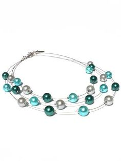 Short necklace with glass pearls in teal aquamarine door PerElle