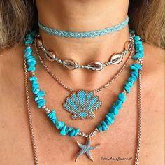 Vazgeçilmezim Türkuvazlar Gelsin Yen'i Haftaya...🐬🐚🏝🦋🌊 #jewellery#desing#moda... #miyukijewelry... #beach#summer...… Dyi Necklace, Seed Bead Necklace, Beaded Necklace, Beaded Bracelets, Handmade Necklaces, Jewelry Necklaces, Handmade Jewelry, Beaded Bracelet Patterns, Bead Embroidery Jewelry