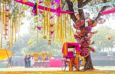 Outdoor wedding idea # Indian weddings # sangeet                              …