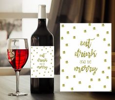 Christmas Wine Label // Eat Drink and be Merry by BartonDesignCo