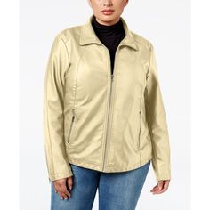 Kenneth Cole Plus Size Faux-Leather Bomber Jacket ($110) ❤ liked on Polyvore featuring plus size women's fashion, plus size clothing, plus size outerwear, plus size jackets, warm combo, plus size womens jackets, fake leather jacket, bomber style jacket, beige faux leather jacket and vegan leather jacket