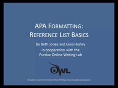 Purdue OWL: APA Formatting: Reference List Basics | A video about APA citation style. A video!