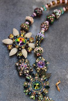 necklace with Swarovski crystals wicker, necklace beads, necklace beads, necklace weaving, swarovski necklace, jewelry necklace, beaded