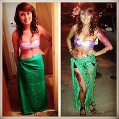 Easy DIY Halloween costumes. Ariel or zombie Ariel. This costume was made  out of