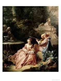 *Rococo Revisited - the music lesson, françois boucher Rococo Painting, Victorian Paintings, French Paintings, Oil Painting Reproductions, Oil On Canvas, Canvas Art, Canvas Prints, Art Prints, Painting Canvas