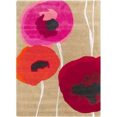 Surya SND4508-23 Sanderson 2' x 3' Rectangle Wool Hand Tufted Floral Area Rug - Red