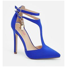 Justfab Pumps Fedra ($40) ❤ liked on Polyvore featuring shoes, pumps, blue, synthetic shoes, high heeled footwear, blue platform pumps, justfab and t-bar shoes