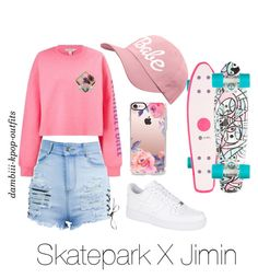 """""""Skatepark X Jimin"""" by dambiii ❤ liked on Polyvore featuring Miss Selfridge, NIKE, Casetify, bts and jimin"""