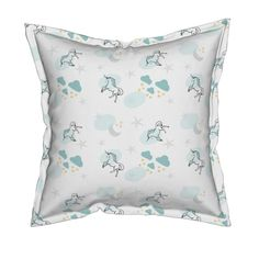 Serama Throw Pillow featuring magical unicorns 7 - gray mint sprinkle by drapestudio | Roostery Home Decor