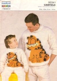 """Readicut Knitting Pattern 00341, Adults and Childs Sweater with Garfield Design, Sizes 61-107cms, 24-42"""", fair, some creasing, some small notations but text unaffected, 13933, £1.45  #knitting #patterns #cats"""