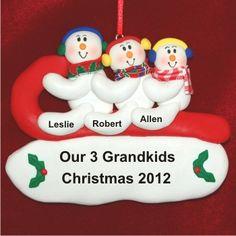 Snowful Sledding Fun - 3 Grandkids Grandparents Ornament