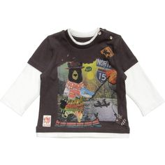 Little boys dark grey cotton jersey t-shirt by Catimini with a cute Canadian themed grizzly bear print on the front. Attached underneath are long sleeves and borders around the neck and hem to look like a long t-shirt is layered underneath. On the shoulder are poppers to make it easy to pull on and over the head.<br /> <ul> <li>100% cotton jersey</li> <li>Machine wash (30*C)</li> </ul>