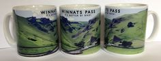 """Winnats Pass - """"It's Better By Bike!"""" Mug.  Based on an original photograph of Winnats Pass just outside Castleton in Derbyshire, the image has been edited to give a retro feel, reminiscent of old rail and travel posters.  An homage to this much loved and picturesque feature of the Peak District, this challenging climb is certainly not for the faint hearted cyclist!"""