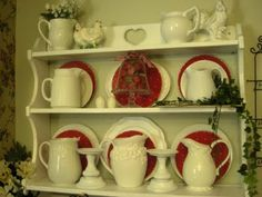 White and red plate rack - cute collection