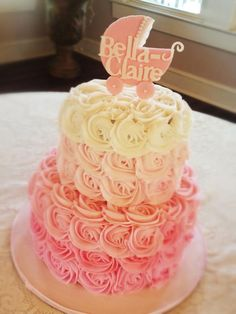Love this pink ombre cake Torta Baby Shower, Tortas Baby Shower Niña, Simple Baby Shower Cakes, Baby Shower Cake For Girls, Shower Party, Baby Shower Parties, Baby Shower Themes, Shower Ideas, Shower Gifts