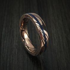 14k Rose Gold Mokume Shakudo Solid Mokume Ring with Angled Lapis Stone Inlay Custom Made