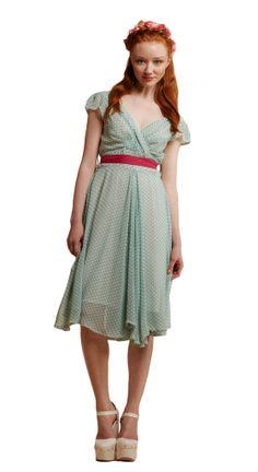 Regina Chiffon Polka Dot Dress in Mint. http://www.weekenddoll.co.uk/epages/100135580.sf/en_GB/?ObjectPath=/Shops/100135580/Products/REGINA-MINT-PD/SubProducts/REGINA-MINT-PD-0001&ViewAction=ViewProduct