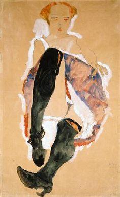 Egon Schiele - Sitzendes Mädchen mit schwarzen Strümpfen