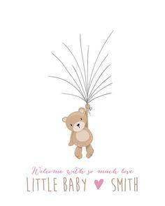 Teddy bear Baby shower guestbook thumbprint guest book Bear