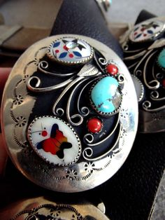 Silver Concho Belt Turquoise and Inlay Abalone by SouthwestVintage