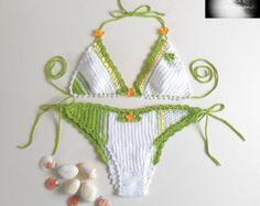 Crochet bikini set White bikini top & by Lenkascreativehands