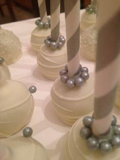 Elegant silver pearled cakepops  Happy 25 th wedding anniversary !!!!