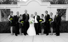 Our Bridal Party. Black and White with hint of yellow.