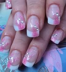 Love the pink glitter-spray overlay on the french tips-- I think this would work even on short nails!