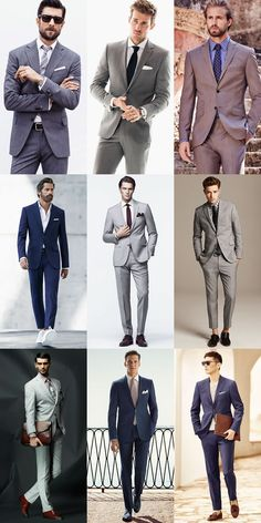 Men's Contemporary Spring Suits - Pale Grey, Mid-Grey, Charcoal and Navy - Outfit Inspiration Lookbook
