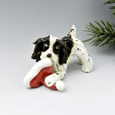 Springer Spaniel Christmas Ornament Figurine Santa S Hat Porcelain