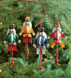 Set Of 4 Wooden Animated Nutcracker Ornaments