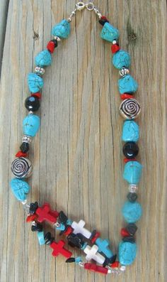turquoise & crosses #turquoise #cross #necklace #jewelry