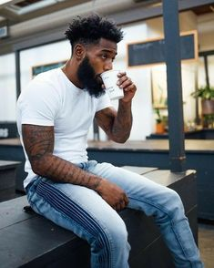 Image may contain: 1 person, sitting, beard and outdoor Black Man, Fine Black Men, Gorgeous Black Men, Handsome Black Men, Beautiful Men, Black Men Haircuts, Black Men Hairstyles, Modern Haircuts, Mens Braids Hairstyles