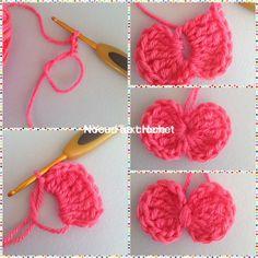 réaliser un noeud au crochet                                                                                                                                                      Plus Crochet Bee, Crochet Amigurumi, Crochet Flowers, Crochet Hooks, Appliques Au Crochet, Crochet Motifs, Patron Crochet, Knitting Patterns, Crochet Patterns