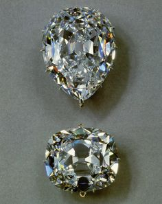 The Cullinan I (top) and Cullunan II (bottom) diamonds, which are the largest top quality cut diamonds in the world. The Cullinan I is set in the Sovereign's Sceptre with Cross, and the Cullinan II is in front of the Imperial State Crown. Weighing 3,106 carats (1.33 pounds), it was the largest diamond ever found, was discovered in the Premier Mine in South Africa in 1905. The diamond was purchased in 1907 by the Transvaal Government and presented to Edward VII as a birthday gift.