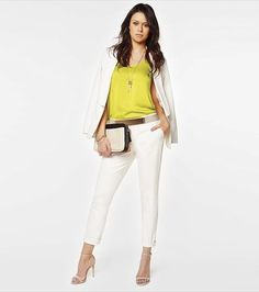 This crisp white suit is the perfect office to drinks ensemble!