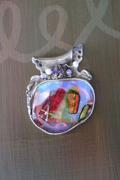 "Artisan handmade fine silver Pendant ""Moon Night"" with light purple, red, dichroic glass cabochon, pmc, handcrafted recycled silver"