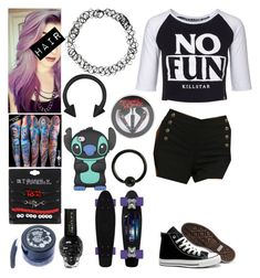 Style #380 by katlanacross on Polyvore featuring polyvore fashion style Killstar Converse Disney Medusa's Makeup Lauren Conrad clothing