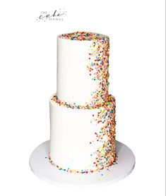 Call or email to order your celebration cake today. Rainbow Sprinkle Cakes, Rainbow Sprinkles, Buttercream Cake, Fondant Cakes, Sprinkle Shower, Cakes Today, Cupcake Wars, Cake Decorating Tips, Pretty Cakes