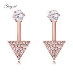 Find More Stud Earrings Information about Shuyani Jewelry Exquisite Triangle Shape Micro Inlay Round AAA+ Cubic Zirconia Diamond Stud Earrings For Women Jewelry Brincos,High Quality diamond drop earring,China earrings prom Suppliers, Cheap diamond 3g from shuyani Official Store on Aliexpress.com