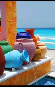 The colours. I like Greece. World Of Color, Color Of Life, Mexican Clay Pots, Mexican Style, Santorini Greece, Santorini Island, Belle Photo, Rainbow Colors, Color Inspiration