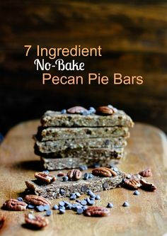You are just 7 ingredients away from a delicious, soft, chewy and healthy pecan pie in bar form. These pecan pie bars are vegan, gluten-free, oil-free, refined sugar-free, no-bake, only 7 ingredien...