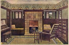 mission style colors living room   From Stickley's Craftman Home Catalog, dated 1909.